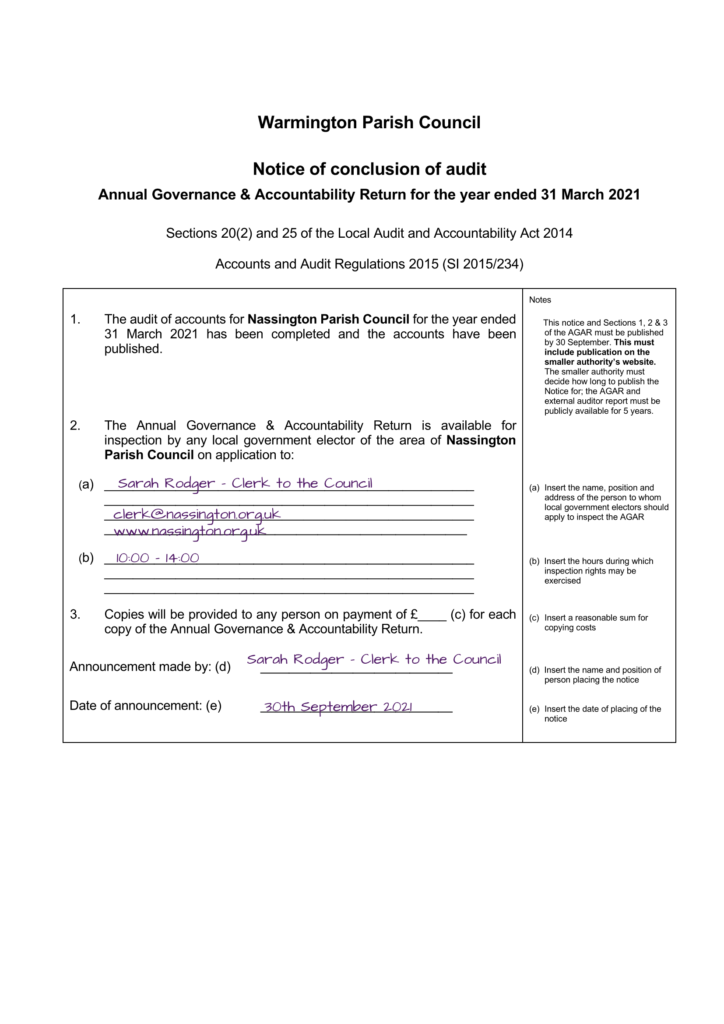 Notice of conclusion of audit